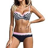 OverDose Damen Padded Push-Up-BH Dreieck Bedruckte Schlinge Bikini Set Badeanzug Badeanzug Bademode Beachwear Badeanzüge (M, U-rosa)