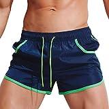 KPILP Herren Boxer Boxershorts Unterwäsche Sportswear Breathable Badehose Hosen Bademode Shorts Slim Wear Bikini Badeanzug Schwarz ( Marine,M