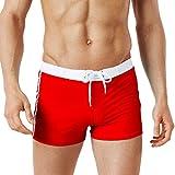 NPRADLA Bademode Badehose Badeshorts Herren Männer Mit Verstellbarem Tunnelzug, Badeanzug Mode Briefs Strand Shorts Unterhose(Rot-4,XL)