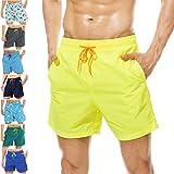 coskefy Badeshorts für männer Jungen Badehose Schwimmhose Schnelltrocknend Kurz Vielfarbig Beachshorts Boardshorts Strand Shorts Sporthose mit Mesh-Futter Tunnelzug (Gelb, M(EU)-MarkeGröße XL)