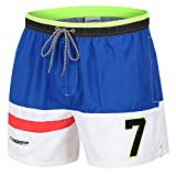 anqier Badehose für Herren Badeshorts für Männer Jungen Schnelltrocknend Schwimmhose Strand Shorts (Blau+Weiß, S)