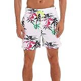 Shujin Herren Sommer Hawaii Shorts Blumen Drucken Badehose Urlaub Strand Shorts mit verstellbarem Tunnelzug Badeshorts Schnelltrocknend Bermuda Shorts