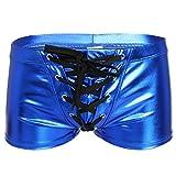 YiZYiF Herren Boxershort Wetlook Lack Leder Unterwäsche Trunks Stretch Briefs reizvolle Badehose Blau L