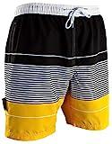 GUGGEN Mountain Badehose für Herren Schnelltrocknende Badeshorts 880 mit Kordelzug Beachshorts Boardshorts Schwimmhose Männer gestreift Farbe Gelb gestreift L