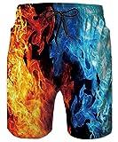 ALISISTER Herren Badeshorts Bunte Feuer Print Schnell Trocknend Badehose Hawaiian Sport Beach Surf Shorts Mit Taschen S