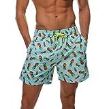 Arcweg Herren Jungen Badeshorts Kurz Badehose Vielfarbig Schnelltrocknend Beachshorts Boardshorts Strand Shorts Ananas XL(EU)-MarkeGröße XXL