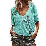 MCYs  Größe Größe Damen Kurzarm V Ausschnitt Gedruckt Casual Tops Bluse T Shirt