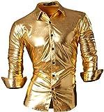 jeansian Herren Freizeit Hemden Bronzing Slim Button Down Long Sleeves Dress Shirts Tops Z036 Gold XXL