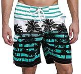 SHEKINI Herren Sommer Badeshorts Hawaii Kokospalme Blumenmuster Badehose mit 3 Taschen Innenslip Schnelltrocknend Strandshorts (28, Himmelblau)