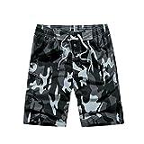 YoungSoul Herren Camouflage Badehose / Surfer Boardshorts / Beachshorts Badeshorts Sommer Strand / Knielang Grau EU S / Etikette M