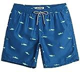 MaaMgic Herren Badehose Sommer Badeshorts für männer Jungen Badehose Schwimmhose Schnelltrocknend Kurz Vielfarbig Beachshorts MEHRWEG Hai Blau M