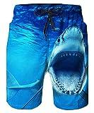 ALISISTER Badehose für Herren 3D Lustige Hai Druck Schnell Trockene Blau Badeshorts Herren Sommer Strand Surf Boadrshorts Männer Mit Taschen L