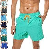 coskefy Badeshorts für männer Jungen Badehose Schwimmhose Schnelltrocknend Kurz Vielfarbig Beachshorts Boardshorts Strand Shorts Sporthose mit Mesh-Futter Tunnelzug (See Grün,XL(EU)-MarkeGröße 3XL)