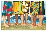 Pacifica Island Art 22cm x 30cm Vintage Metallschild - Lässiger Freitag - Surfer in Boardshorts - von Einem Original Vintage Retro Gemälde von Scott Westmoreland