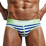 Boxer Briefs Herren Ronamick Mens Sexy Unterwäsche Gestreifte Shorts Unterhose Pouch Soft Cotton Schlüpfer Unterhosen Höschen (M, Blau)