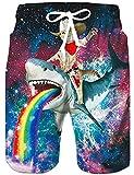 Rave on Friday 3D Printed Mens Beach Shorts Lustige Shark Boardshorts Hawaii Funky Badehose Mit Einstellbarer Kordelzug Bunte S