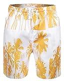 Sykooria Herren Badebekleidung Sommer Palme Schnell Trocken Leicht Joggen Sport Täglich Hawaii Badeshorts Herren Strand Badehose Gelb
