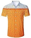 TUONROAD Freizeithemden Herren Funny Hemd Gelb Bier 3D Gedruckt Muster Bunte Funky Shirt Hemd Herren Kurzarm Sommerhemd Button Down Hawaiihemd Strandhemd Hawaii Hemd Männer Jungen XL