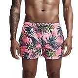 Gusspower_ Herren Badeshorts Badehose in Vielen Farben | 3D Blätter Drucken | Bermuda Shorts | Schwimmhose | Rosa Badehose für Männer X36