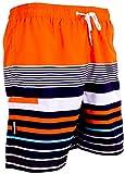 GUGGEN Mountain Herren Badeshorts Beachshorts Boardshorts Badehose Schwimmhose Männer mit Muster *Print* Orange Schwarz L