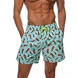 anqier Badeshorts für Herren Jungen Schnelltrocknend Leicht Badehose Schwimmhose Männer Beachshorts Boardshorts Strand Shorts (Ananas-1, M(EU)-MarkeGröße:XL-Taille 80-90cm)