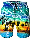 Loveternal Badeshorts für Männer 3D Schnell Trocknend Badehose Lustig Coole Hawaii Badehose Blau M
