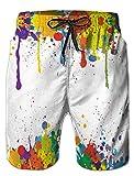 ALISISTER Herren Badehose 3D Weiße Farbe Grafik Badeshorts Herren Elastische Taille Hawaiian Beach Sport Shorts Schwimmhose für Herren M