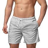 Occulto Herren Männer Badehose in vielen Farben | Badeshort | Bermuda Shorts | Beachshort | Slim Fit | Schwimmhose | Boardshort | Jungen (S, Grau)