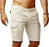 LEIF NELSON Herren Cargo Hose Shorts Sommer Kurze Hose Chino Bermuda Stretch Slim Fit LN1345; W33; Beige