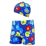 MRULIC 2 Pieces Kinder Schwimmen Shorts und Hut Baby Jungen Stretch Strand Badeanzug Bademode Badehose Shorts + Hut Set(Blau,2-3 Jahre)