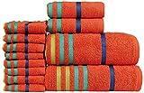 Casa Copenhagen Exotic Kollektion 475 g/m² Baumwolle 12 teiliges Badetüch, Handtüch und Seiftücher Set, Orange