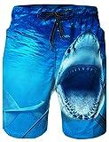 Loveternal Hawaii Badeshorts Bunt Sommer Schwimmhose Herren 3D Hai Badehose für Männer Blau XL