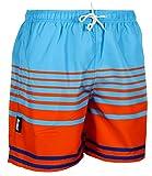 Luvanni Herren Badeshorts Beachshorts Boardshorts Badehose Schwimmhose Männer gestreift Streifen orange blau Farbe Bunt XXL