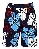 mareno - Herren Badeshort mit Modernem Blumenmuster in Blau, in Größe L