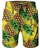 TUONROAD Herren Badehose Badeshorts mit Taschen Gelbe Ananas 3D Gedruckte Lustige Badeshorts für Männer Tropical Beach Waves Theme Streifen Coole Lange Boardshorts Einstellbare Hawaiian Surf Shorts