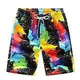 Rocita Herren Jungen Strand Shorts, Kurze Badeshorts Badehose Bunte Schnelltrockende Beachshorts für Männer, Ölmalerei, XXL