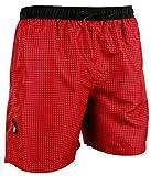 GUGGEN Mountain Herren Badeshorts Beachshorts Boardshorts Badehose Schwimmhose Männer kariert *verschiedene Farben* Farbe Rot M
