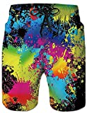 Rave on Friday Männer Swim Trunk 3D Gedruckt Realistische Strand Shorts Graffiti Boardshorts Hawaii Funky Shorts am Strand Bunte L