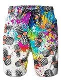 Männer Boardshorts Schnell Trocknend Outdoor Shorts Drucken Ananas Wasserdichte Sporthose Badeanzug Badehose L