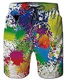 ALISISTER Badeshorts Für Herren 3D Lustig Badehose Elastische Taille Hawaii Holiday Beach Board Surfer Boardshorts Mit Taschen L