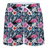 TUONROAD Herren Badeshorts Roter Flamingo 3D Druck Badehose Multi Bunt Blumen Muster Beach Shorts Schnelltrocknend Sommer Schwimmhose Leicht Boardshorts Männer Shorts mit Mesh-Futter -XL