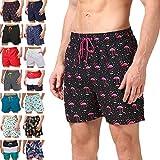 anqier Badeshorts für Herren Jungen Schnelltrocknend Leicht Badehose Schwimmhose Männer Beachshorts Boardshorts Strand Shorts (Pink Flamingo, M(EU)-MarkeGröße:XL-Taille 80-90cm)