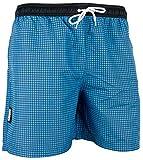 GUGGEN Mountain Herren Badeshorts Beachshorts Boardshorts Badehose Schwimmhose Männer kariert Farbe Blau XL