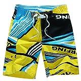 NiSeng Herren Boardshorts Badeshorts Badehose Surfen Strand Shorts Gelb M