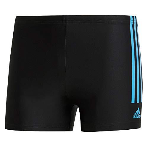 adidas Herren Fitness Semi 3-Streifen Boxer-Badehose, Black/Shock Cyan, 6