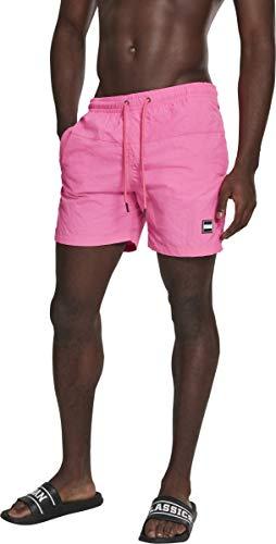 Urban s Herren Swim Badehose Badeshorts Block Swim Shorts Badehose, neonpink, L