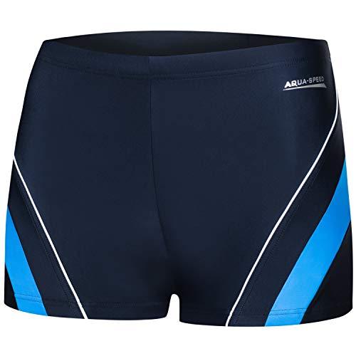 Aqua Speed Badehose kurz für Herren | Blaue Kastenbadehose Männer I Moderne Schwimmhose Sport | Mens Swimwear I UV Badepants blau I Schwimmen I Surfen I Dennis, Gr. XL, 42/Navy Blue