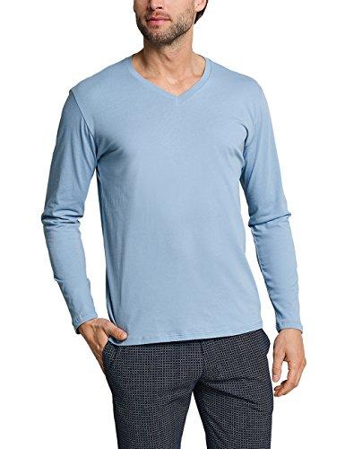 Schiesser Herren Mix & Relax Langarmshirt V-Ausschnitt Schlafanzugoberteil, Blau (Hellblau 805), Medium (Herstellergröße: 050)