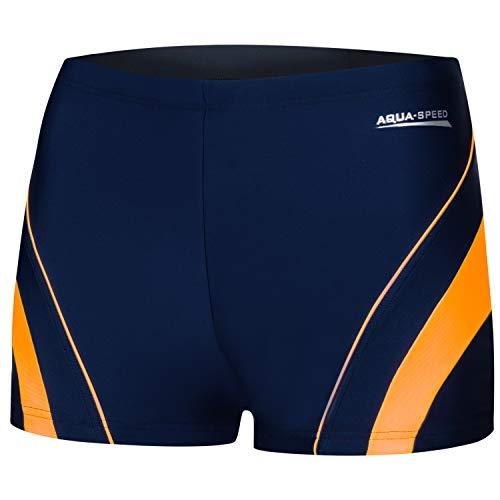 Aqua Speed Badehose Herren | Schwimmhose Wassersport | Mens Swimwear I UV Kastenbadehose für Erwachsene I Blaue Badebekleidung Schnorcheln I Schwimmen I Dennis, Gr. L, 04/Navy orange