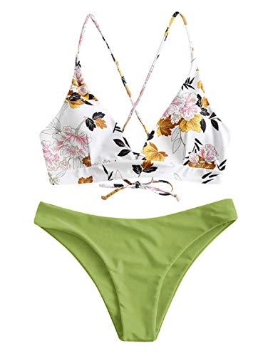 ZAFUL Damen zweiteilig Bikini-Set mit Blumenmuster verstellbarem BH Push-Up Rücken, Triangle Einfarbig Badehose Sommer (Hellgrün, L)